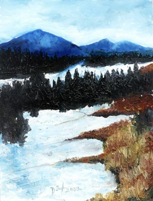 Winter Landscape - Oil Painting on HDF by artist Darko Topalski