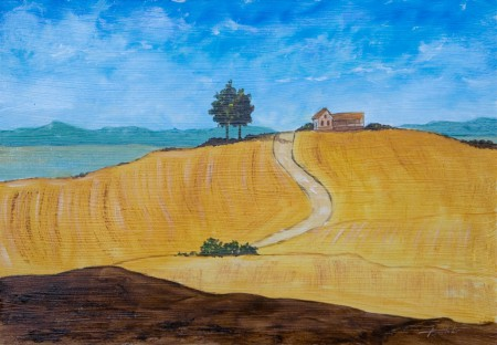 Farm House on the Hill - Oil Painting on HDF by artist Darko Topalski