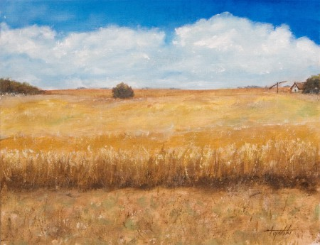 Farm in a Field - Oil Painting on Canvas by artist Darko Topalski