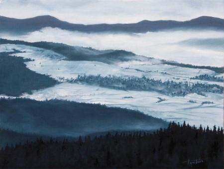 Mountain Winter Landscape - Oil Painting on Canvas by artist Darko Topalski