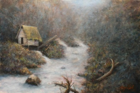 Fine Art - Water Mill - Original Oil Painting on Canvas by artist Darko Topalski