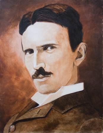 Nikola Tesla - Oil Painting on Canvas by artist Darko Topalski