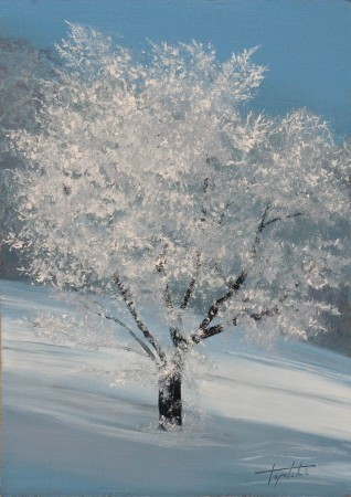 Winter Tree - Oil Painting on MDF by artist Darko Topalski