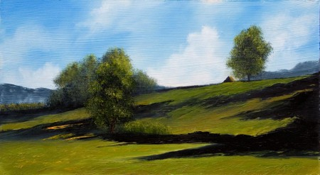 Green Hills - Oil Painting on HDF by artist Darko Topalski