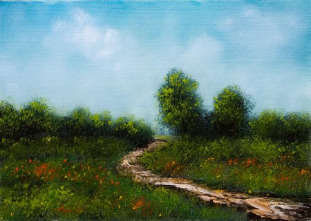 A Path through the flower fields - Oil Painting on HDF by artist Darko Topalski