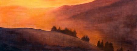 Warm Mountains Sunset - Oil Painting on HDF by artist Darko Topalski
