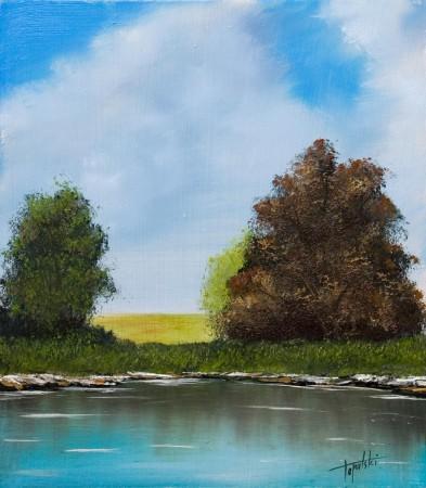 Lake in a field - Oil Painting on HDF by artist Darko Topalski
