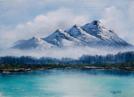 Frosty Mountains - Oil Painting on HDF by artist Darko Topalski