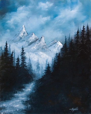 Distant Mountains  - Oil Painting on HDF by artist Darko Topalski