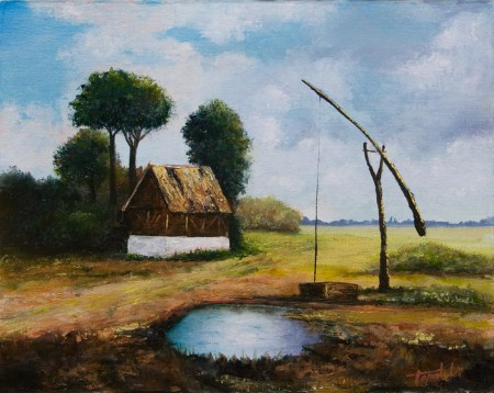 Old Farm - Oil Painting on Canvas by artist Darko Topalski