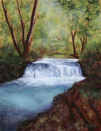 Forrest Waterfall - Oil Painting on HDF by artist Darko Topalski