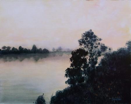 Misty River - Oil Painting on Canvas by artist Darko Topalski