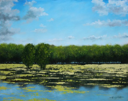 River Pond - Oil Painting on Canvas by artist Darko Topalski