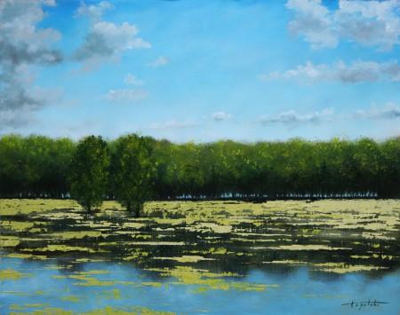 River Pond - Oil Painting on Canvas by artist Darko Topalski