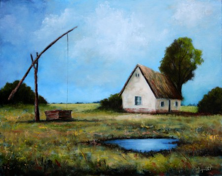Old Farm in the Fields - Oil Painting on Canvas by artist Darko Topalski