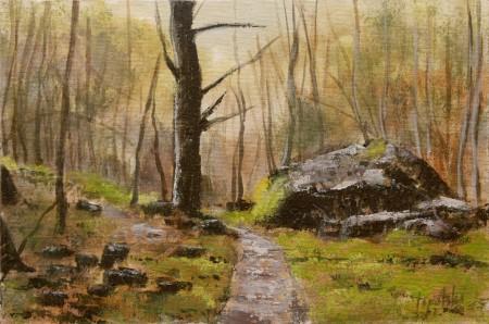 Fine Art - Forest Path - Original Oil Painting on HDF Canvas Board by artist Darko Topalski