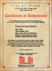 Certificate of authenticity with every original painting by artist Darko Topalski