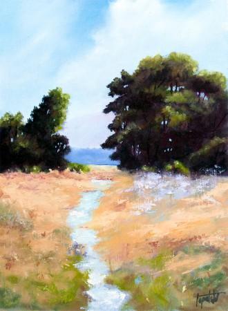 Field Stream - Oil Painting on HDF by artist Darko Topalski