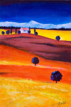 Tuscany - Oil Painting on HDF by artist Darko Topalski