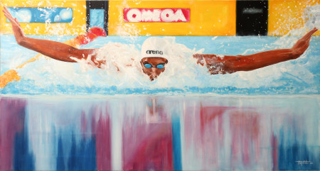 Fine Art - Swimmer - Original Oil Painting on Canvas by artist Darko Topalski