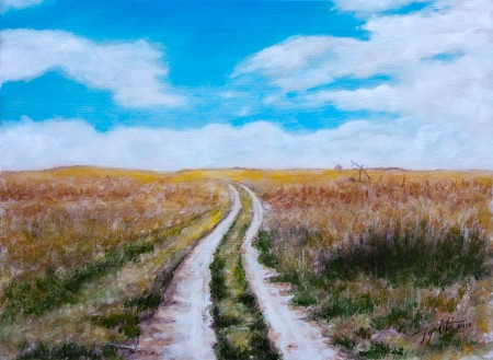 Country Road - To The Wheat Fields - Original Oil Painting on HDF by artist Darko Topalski