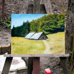 at easel - Mountain Cottages - Original Oil Painting on MDF by artist Darko Topalski