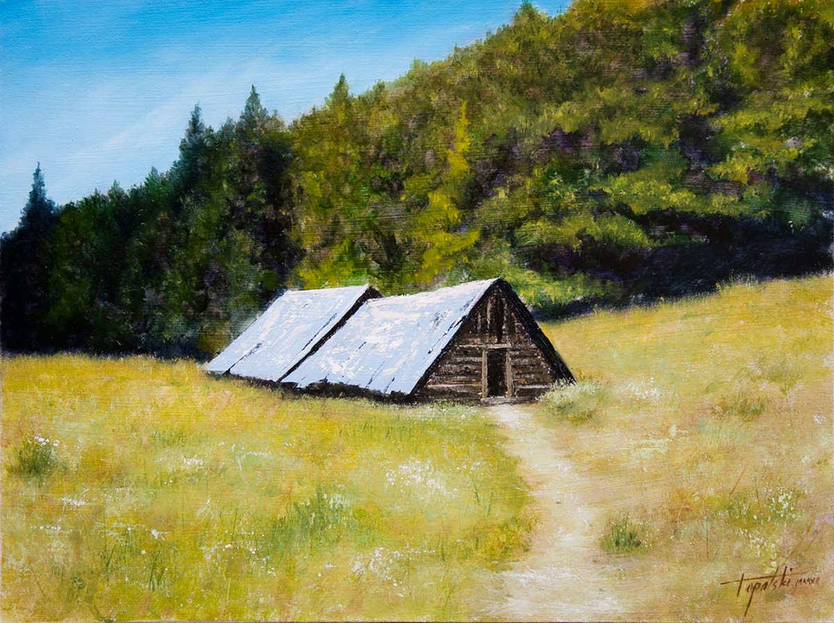 Mountain cottages oil painting fine arts gallery for Cottage in the mountains