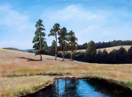 Trees in a Meadow - Original Oil Painting on HDF by artist Darko Topalski