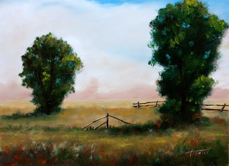 Two Trees in a Meadow - Original Oil Painting on HDF by artist Darko Topalski