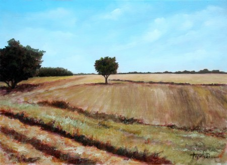 Yet Another Tree in a Fields - Original Oil Painting on HDF by artist Darko Topalski