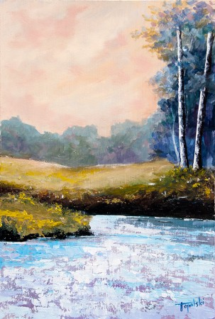 Birch Trees by the Lake - Original Oil Painting on HDF by artist Darko Topalski