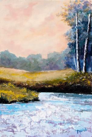 Birch Trees by the Lake - Original Oil Painting on HDF by artist Darko Topalski
