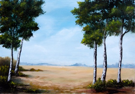 Birch Trees in the Plain - Original Oil Painting on HDF by artist Darko Topalski