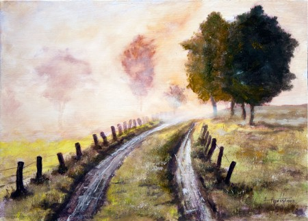 Misty Country Road - Original Oil Painting on HDF by artist Darko Topalski
