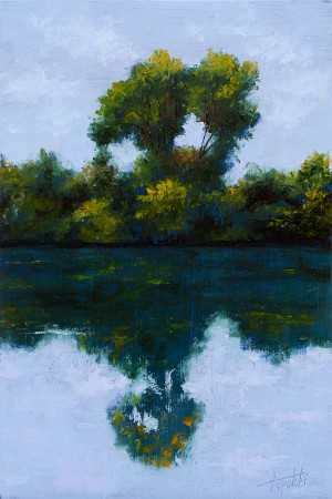 Tree on a Lake - Original Oil Painting on HDF by artist Darko Topalski