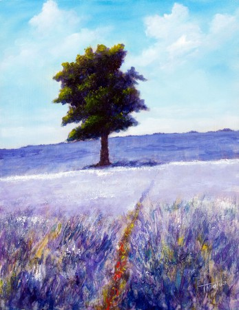 An Tree in a Lavender Field  - Original Oil Painting on HDF by artist Darko Topalski