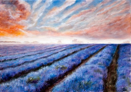 Misty Lavender Fields - Oil Painting on Canvas by artist Darko Topalski