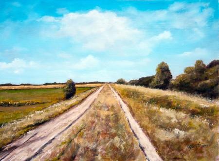 Country Road near Begec - Original Oil Painting on HDF by artist Darko Topalski