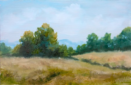 By the Fields - Original Oil Painting on HDF by artist Darko Topalski
