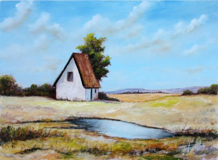 Blue Farm House - Original Oil Painting on HDF by artist Darko Topalski