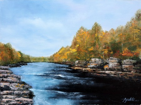 River Streams - Original Oil Painting on HDF by artist Darko Topalski
