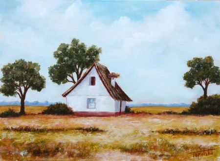 Farm House with a Nest - Original Oil Painting on HDF by artist Darko Topalski