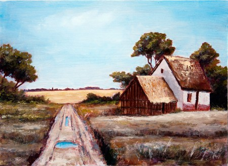 Old Farm Houses by a Road - Original Oil Painting on HDF by artist Darko Topalski