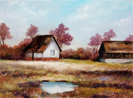 Old Farm Houses - Original Oil Painting on HDF by artist Darko Topalski