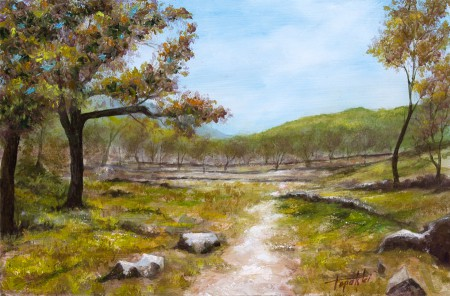 A Path through the Forrest Mountain Cottages - Original Oil Painting on HDF by artist Darko Topalski