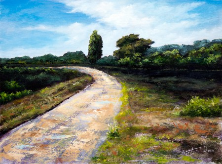 Forrest Road - Original Oil Painting on HDF by artist Darko Topalski