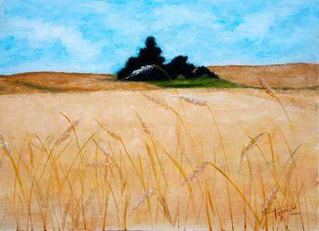 Tree in a Wheat Field - Original Oil Painting on HDF by artist Darko Topalski