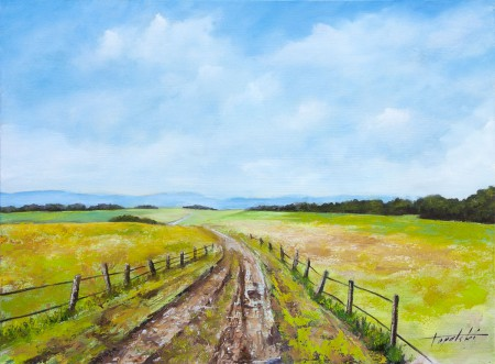 Through the Country Fields - Oil Painting - Original Oil Painting on HDF by artist Darko Topalski