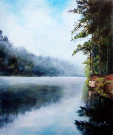 Misty River - Original Oil Painting on Canvas Fine Art - by artist Darko Topalski