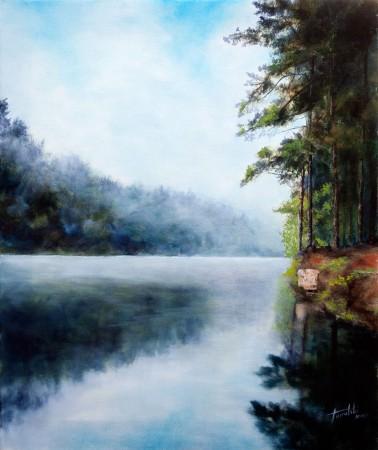 Misty River - Original Oil Painting on Canvas Fine Art - by artist Darko Topalski